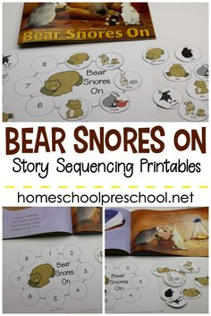 These Bear Snores On sequencing cards are a great way to talk about animals and hibernation. Practice retelling and sequencing the story. Bears Preschool, Free Preschool, Preschool Printables, Preschool Classroom, November Preschool Themes, Preschool Winter, Montessori Preschool, Kindergarten Science, Maria Montessori