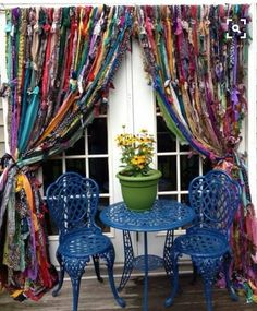Scarf Curtains ...... #TextileWaste #Upcycle #Recycle #DIY #GreenLiving #Vintage #Handmade #Craft #DIY #Curtians Scarf Curtains, Bohemian Curtains, Curtains And Draperies, Drop Cloth Curtains, Beaded Curtains, Diy Curtains, Hanging Curtains, Curtain Room, Drapery