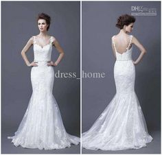 Wholesale Unique Famous Mermaid Spaghetti Straps White Lace Backless Beads Sashes Arabic Wedding Dresses, Free shipping, $181.17-185.74/Piece | DHgate