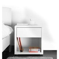 Table de nuit design laquée blanche ELIAH