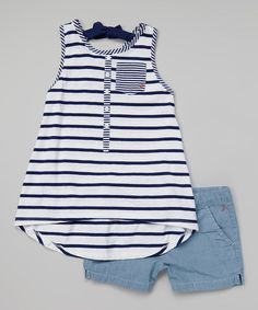 Another great find on Nautica Navy Stripe Trapeze Tank & Chambray Shorts - Toddler & Girls by Nautica Little Girl Outfits, Little Girl Fashion, Toddler Outfits, Cute Outfits, Toddler Girls, Fashion Kids, Toddler Fashion, Mode Simple, Kid Styles