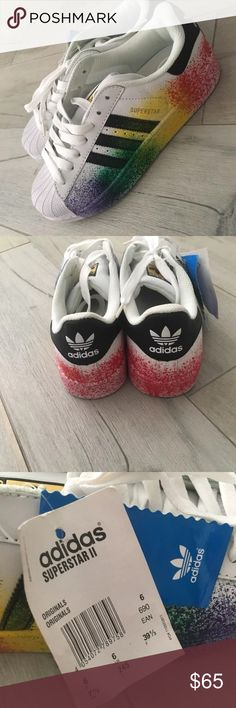 Adidas superstar sneakers *limited* Adidas Superstar sneakers size 7.5 Purchased in Europe. Limited edition. Im selling them because they are too small on me :( adidas Shoes Sneakers