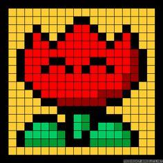 Flower Mario perler bead pattern