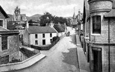 Old photograph of houses on Moulin road in Pitlochry, Highland Perthshire, Scotland