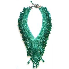 Helene Zubeldia Green Crystal & Glass Beads Dangling Necklace (£340) ❤ liked on Polyvore featuring jewelry, necklaces, green jewelry, crystal jewelry, string jewelry, glass bead jewelry and string necklace