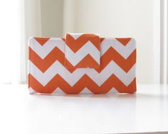 Womens Chevron Fabric Wallet in Orange and by AccessoriesByBethany, $42.00