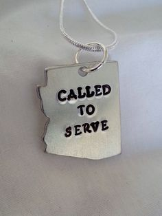 Called to Serve Arizona hand Stamped necklace for LDS Mormon missionaries  #templestamping