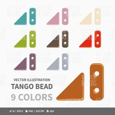 Two-hole Tango Beads Clip-art Pack - Beads Vector Graphics - ai, eps, pdf, png
