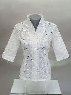 Womens 3/4 Sleeve Crisp White Blouse with Stand-Up Collar