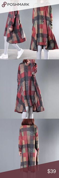 """Swing longline plaid outfit Material: cotton blended..                                                Length/shoulder/bust /sleeve length /  US S.     36.6""""/15.4""""/39.4""""/21.7"""" US M.    37""""/15.7""""/40.9""""/22"""" US L.      37.4""""/16""""/42.5""""/22.3"""" US XL     37.8""""/16.5""""/43.3/22.6"""" Other"""