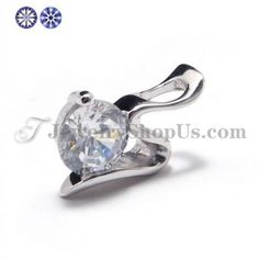925 Silver Zircon Pendant (Electroplating platinum) with Free Chain