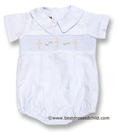 Posh Originals Infant Baby Boys Dressy Smocked Christening Cross Romper - WHITE