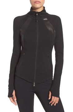Free shipping and returns on Zella'Modern Athena' Front Zip Jacket at Nordstrom.com. Expert seaming and a rounded hem create an ultra-figure-flattering silhouette for this high performance jacket. A high stand collar keeps your neck protected, while thumbholesin cuffs keeps hands warm and keep sleeves from creeping up while you're working out.