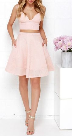 Airy Annex Blush Pink Two-Piece Dress