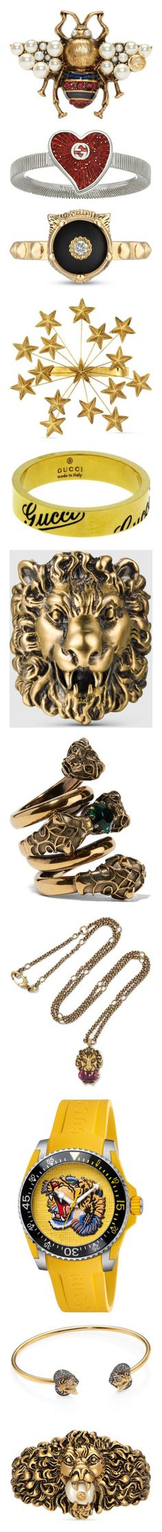 """""""Gucci 2.0"""" by mehrak ❤ liked on Polyvore featuring jewelry, rings, accessories, brooch, pins, gold, bee ring, gold rings, gucci ring and yellow gold rings"""