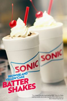 Cake Batter Shake, Brownie Batter, Sonic Restaurant, Sonic Drive In, Ice Cream Mix, Delicious Desserts, Yummy Food, Mexican Dessert Recipes, Brownies