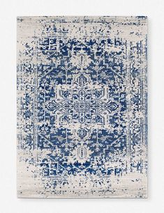 The ultimate rug for a lived-in, ultra-chic bohemian vibe. The Prisha rug is a timeless piece and a gorgeous addition to any space. Make a statement with a bold color or add a dreamy accent with one of the softer shades. Blue And White Rug, Blue And White Living Room, Blue Grey, Blue Office, Blue Palette, Machine Made Rugs, Floor Patterns, Blue Accents, Blue Area Rugs