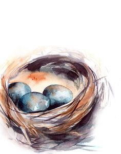 Nest Art Print, nest with eggs, watercolor print, modern wall art, watercolor painting art PRINT DETAILS: printed on Epson art printer specialised in museum quality printing, on heavy weight archival (acid free, special coated, non-yellowing) paper. Each art print is a reproduction