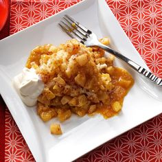 Slow Cooker Apple Pudding Cake Recipe -A satisfying dessert like this is a real treat on a chilly night. It separates into three layers—apples, cake and sauce—so I like to serve it in a bowl. —Ellen Schroeder, Reedsburg, Wisconsin