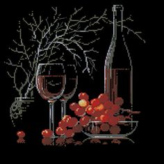 Still-life with red wine- cross-stitch design Pattern Name: Still-life with red wine Fabric: Aida 14, Black 142w X 142h Stitches Size(s): 14 Count, 25.76w X 25.76h cm 11 Count, 32.79w X 32.79h cm 16 Count, 22.54w X 22.54h cm 18 Count, 20.04w X 20.04h cm Colors: 14 DMC Format: PDF, colored symbols See alsocross-stitch pattern …