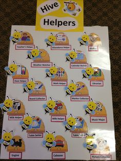 Bumble bee themed job chart Preschool Classroom Jobs, Preschool Job Chart, Classroom Job Chart, Teacher Classroom Decorations, Classroom Helpers, Preschool Art, Classroom Themes, Kindergarten, Classroom Routines And Procedures