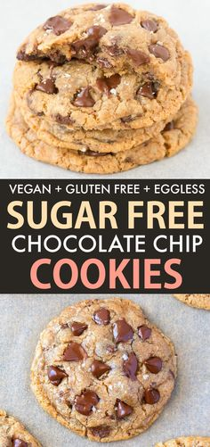 The BEST Vegan and Sugar Free Chocolate Chip Cookie recipe EVER- Thick, soft and. - The BEST Vegan and Sugar Free Chocolate Chip Cookie recipe EVER- Thick, soft and chewy cookies load - Sugar Free Chocolate Chip Cookie Recipe, Dairy Free Chocolate Chips, Sugar Free Cookies, Chocolate Chip Recipes, Sugar Free Desserts, Sugar Free Recipes, Dessert Recipes, Sugar Free Meals, Cookie Recipes Without Butter