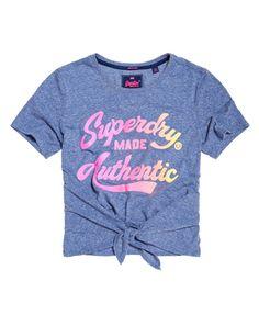 Superdry T-shirt noué Made Authentic Bleu