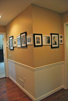 decor, idea, hallways, pictur display, picture displays, chair rail, families, hallway picture display, bauer famili