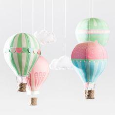 Hot Air Balloons - Fabric Panel in Pink Petals