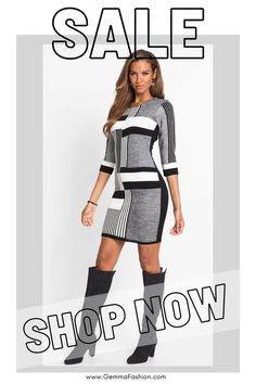 😍 BLACK AND WHITE COLOR BLOCK SWEATER DRESS Trendy stripes and color blocking in bold, contrasting colors create an appealing bodycon dress at a sexy mini length to give you that legs-for-days look. A scoop neck and 3/4 length sleeves cover just enough skin to make this sweater dress an easy one to choose for any occasion. #Fashion #Fashionista #outfit #sweaterdress #womenswear #womensclothing #clothing #clothes #shoppingonline #chic #apparel #shopping #dresstoimpress