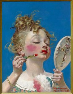 Girl with Lipstick.  Norman rockwell C. 1922