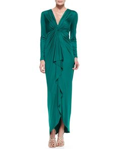 Long-Sleeve Cascade-Front Silk Gown by Catherine Malandrino at Neiman Marcus.