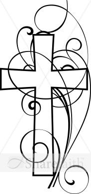 A beautiful black and white clipart image featuring a Christian cross with swirling designs in front and in back of the cross.  This is a perfect Christian image to use in all you Church worship arts media and printed material.
