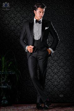 Schwarz italienische Smoking Anzug mit spitzen Satin Revers und 1 Knopf. Reiner Wolle Madras im Karo-Design Stoff. Tuxedo 1834 Kollektion Black Tie Ottavio Nuccio Gala.