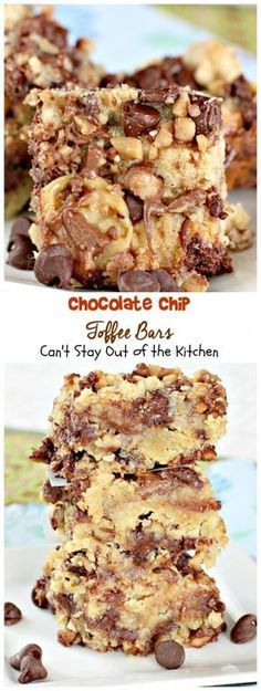 I found this great recipe off the Hershey's website when I was trying to find ways to use up some Heath Toffee Bits last week. This sumptuous recipe is loaded down with chocolate chips and Heath English Toffee Bits. Talk about amazing! It's also full of c Chocolate Chip Cookies, Toffee Cookies, Chocolate Chips, Chocolate Bars, Cookie Bars, Chocolate Cheesecake, Toffee Bar Cookie Recipe, Toffee Chips Recipe, Bar Cookie Recipes