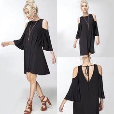 Cold Shoulder Swing Dress ✨www.classicpaperdoll.com✨ #cpdfave #simpleblackdress #favecolor #igfashion #dailylook