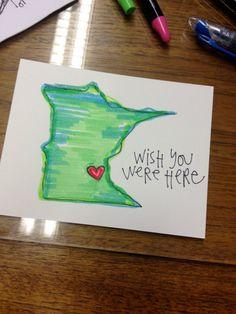 Wish You Were Here Minnesota (Minneapolis/St.Paul) Postcard via Etsy