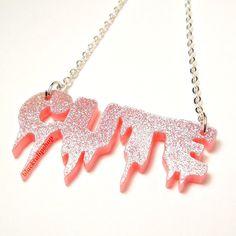 Spooky Cute Pastel Goth Pink Glitter Laser Cute by blacktulipshop, $8.50
