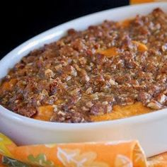 A delicious sweet potato recipe from Boston Market. I tweaked this recipe to suit my family's taste. Thanksgiving Recipes, Holiday Recipes, Holiday Meals, Christmas Recipes, Thanksgiving 2013, Thanksgiving Plates, Sweet Potato Souffle, Mashed Sweet Potatoes, Sweet Potato Recipes