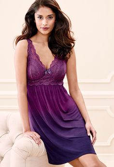 Floral Scroll Sleep Chemise in Ombre Plum