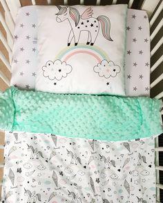 Unicorns and mint minky soft baby blanket / girls cot blanket / minky blanket by TeepeeTotsIE on Etsy