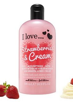 I Love..., Strawberry & Cream Kylpyvaahto 500ml 5,00€ Strawberries And Cream, Shampoo, Strawberry, Personal Care, Cosmetics, My Love, Bottle, Beauty, Self Care