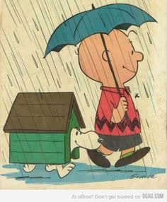 Charlie Brown & Snoopy, rain, umbrella