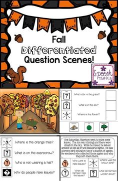 Speech Time Fun: Fall Differentiated Question Scenes! Work on answering WH questions at 3 different levels with these fall theme question scenes! Great for mixed groups!