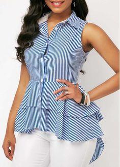 Dip Hem Sleeveless Striped Layered Blouse | Rosewe.com - USD $30.95