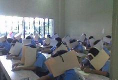 One Chinese school's way of preventing students from cheating on exams.