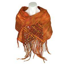 Orange nuno felted scarf, merino wool on silk with tassels and lattice detail £40.00