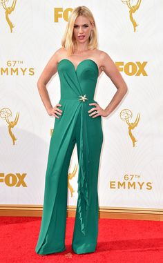 January Jones from 2015 Emmys: Red Carpet Arrivals  In Ulyana Sergeenko with Tiffany & Co jewels
