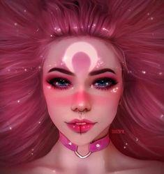 ArtStation - Olivia Derivas night make up Cartoon Kunst, Cartoon Art, Pretty Art, Cute Art, Dibujos Tumblr A Color, Digital Art Girl, Maquillage Halloween, Anime Art Girl, Portrait Art