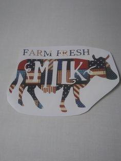 Cow Decal, Flag Pattern Decal, Farm Fresh Milk, Cow Farm Decals by Adsforyou on Etsy Fresh Milk, Window Decals, American Flag, Cow, Super Cute, Lettering, Handmade Gifts, Pattern, Etsy